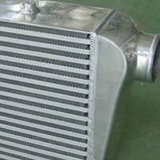 A heat exchanger that has been assembled and brazed that used the roller coating process